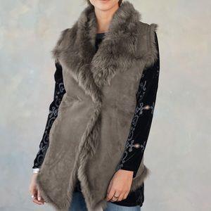 Sundance Simone Shearling /suede Vest NWT grey